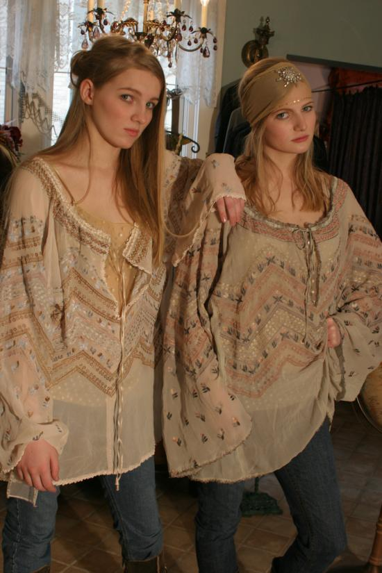 Bonnie Strauss Silk Peasant Blouse