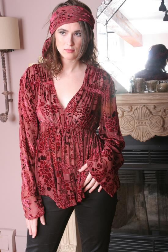 Abra Silk Blouse and Scarf