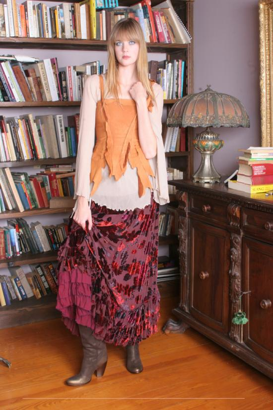 Elysium Skirt in Silk Velvet