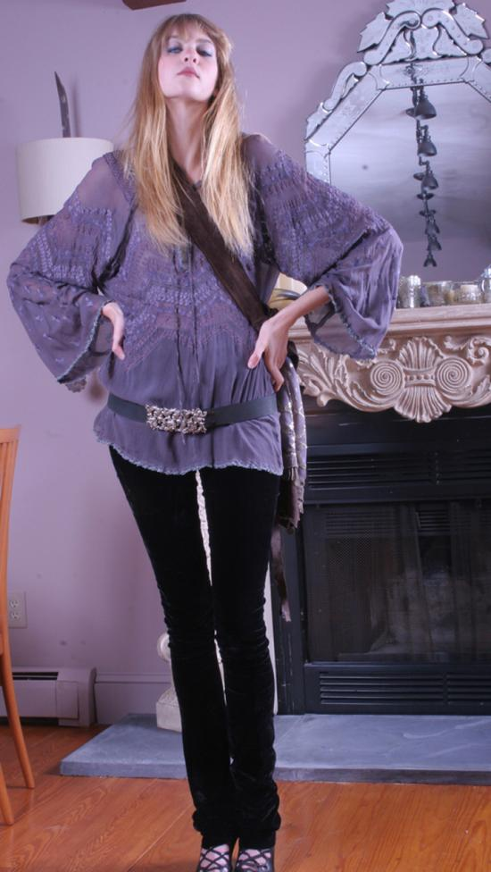 Bonnie Strauss Silk Peasant Tunic