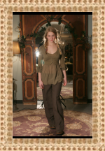 Simona Barbieri for Twin Set Brown Linen Trousers