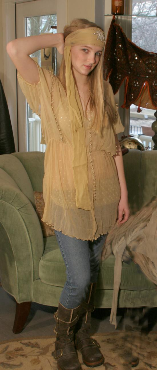 Bonnie Strauss Silk Chiffon Tunic Dress