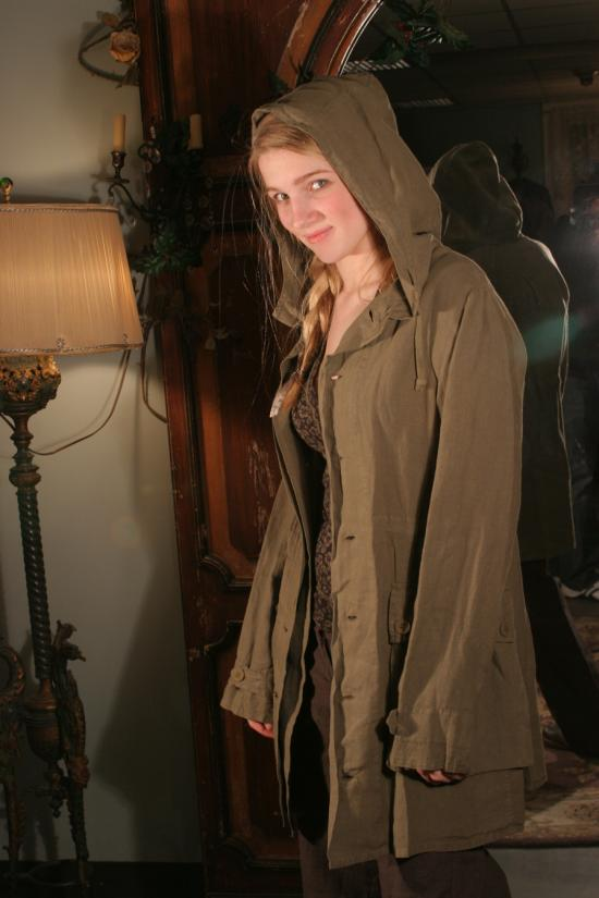 Simona Barbieri for Twin Set Parka in Olive Linen